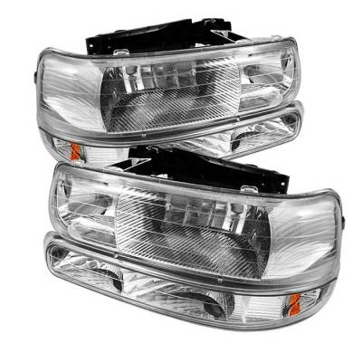 Headlights & Tail Lights - Headlights - Spyder - Chevrolet Tahoe Spyder Amber Crystal Headlights with Bumper Lights - Chrome - HD-JH-CSIL99-SET-AM-C