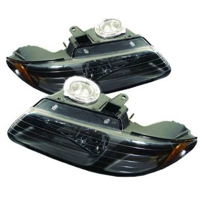 Headlights & Tail Lights - Headlights - Spyder - Dodge Grand Caravan Spyder Amber Crystal Headlights - Black - HD-JH-DC96-AM-BK