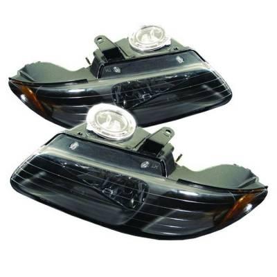 Headlights & Tail Lights - Headlights - Spyder - Chrysler Town Country Spyder Amber Crystal Headlights - Black - HD-JH-DC96-AM-BK