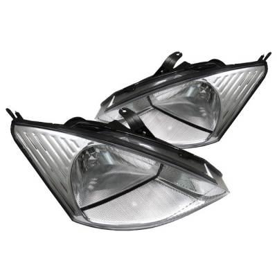 Headlights & Tail Lights - Headlights - Spyder - Ford Focus Spyder Crystal Headlights - Chrome - HD-JH-FF00-C
