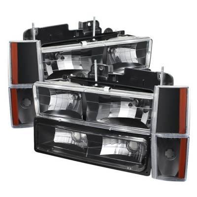 Headlights & Tail Lights - Headlights - Spyder - GMC CK Truck Spyder Crystal Headlights with Corner & Bumper - Black - HD-JH-GMCCK88-AM-BK-SET