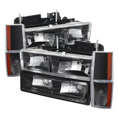 Headlights & Tail Lights - Headlights - Spyder - GMC Yukon Spyder Crystal Headlights with Corner & Bumper - Black - HD-JH-GMCCK88-AM-BK-SET