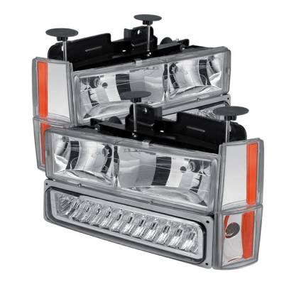Headlights & Tail Lights - Headlights - Spyder - GMC Yukon Spyder Crystal Headlights with Corner & LED Bumper - Chrome - HD-JH-GMCCK88-LED-AM-C-SET