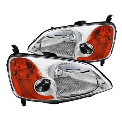 Headlights & Tail Lights - Headlights - Spyder - Honda Civic 2DR & 4DR Spyder Crystal Headlights - Chrome - HD-JH-HC01-AM-C