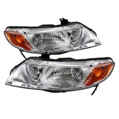 Headlights & Tail Lights - Headlights - Spyder - Honda Civic 4DR Spyder Crystal Headlights Amber - Chrome - HD-JH-HC06-4DR-AM-C