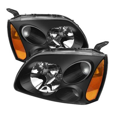 Headlights & Tail Lights - Headlights - Spyder - Mitsubishi Galant Spyder Amber Crystal Headlights - Black - HD-JH-MG04-AM-BK