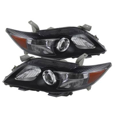Headlights & Tail Lights - Headlights - Spyder - Toyota Camry Spyder Amber Projector Headlights - Black - HD-JH-TCAM10-AM-BK