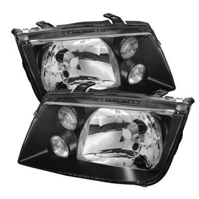 Headlights & Tail Lights - Headlights - Spyder - Volkswagen Jetta Spyder Crystal Headlights - Black - HD-JH-VJ99-BK