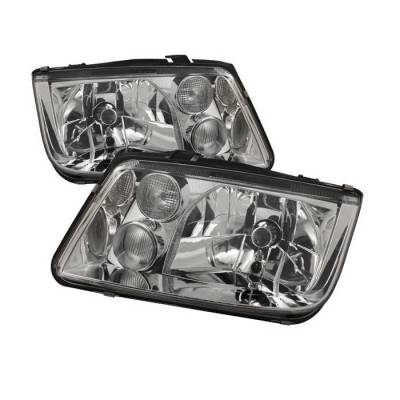 Headlights & Tail Lights - Headlights - Spyder - Volkswagen Jetta Spyder Crystal Headlights - Chrome - HD-JH-VJ99-C
