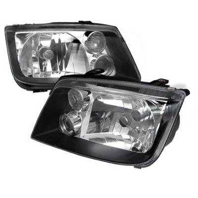 Headlights & Tail Lights - Headlights - Spyder Auto - Volkswagen Jetta Spyder Crystal Headlights - Black - HD-KS-VJ99-BK