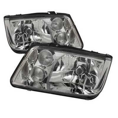 Headlights & Tail Lights - Headlights - Spyder Auto - Volkswagen Jetta Spyder Crystal Headlights - Chrome - HD-KS-VJ99-C