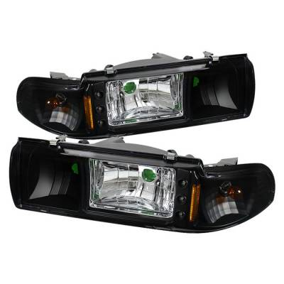 Headlights & Tail Lights - Headlights - Spyder - Chevrolet Caprice Spyder LED Crystal Headlights - Black - 1PC - HD-ON-CCP91-1PC-LED-BK
