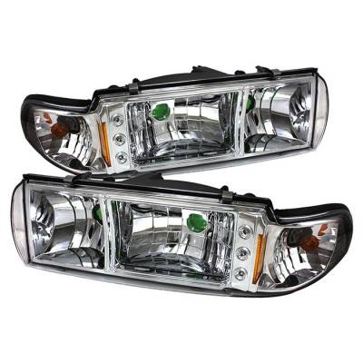 Headlights & Tail Lights - Headlights - Spyder - Chevrolet Caprice Spyder LED Crystal Headlights - Chrome - 1PC - HD-ON-CCP91-1PC-LED-C
