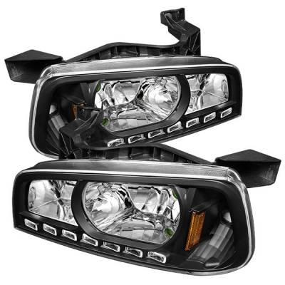 Headlights & Tail Lights - Headlights - Spyder - Dodge Charger Spyder LED Crystal Headlights - Black - 1PC - HD-ON-DCH05-1PC-LED-BK