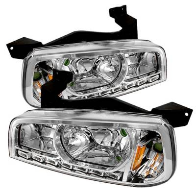 Headlights & Tail Lights - Headlights - Spyder - Dodge Charger Spyder LED Crystal Headlights - Chrome - 1PC - HD-ON-DCH05-1PC-LED-C