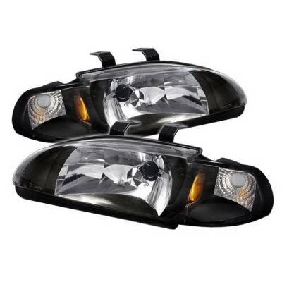 Headlights & Tail Lights - Headlights - Spyder Auto - Honda Civic 4DR Spyder Crystal Headlights - Black - HD-ON-HC921P-4D-AM-BK