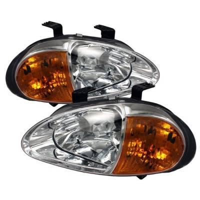 Headlights & Tail Lights - Headlights - Spyder - Honda Del Sol Spyder Amber Crystal Headlights - Chrome - 1PC - HD-ON-HDEL93-1P-AM-C