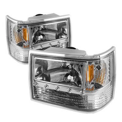 Headlights & Tail Lights - Headlights - Spyder - Jeep Grand Cherokee Spyder Crystal Headlights - Chrome - 1PC - HD-ON-JGC93-1PC-LED-C
