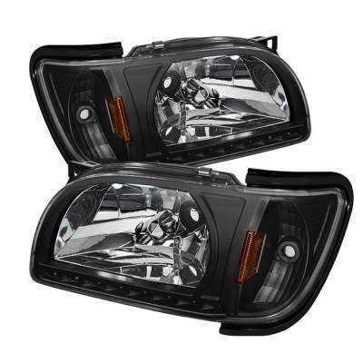 Headlights & Tail Lights - Headlights - Spyder - Toyota Tacoma Spyder Black Trim Corner Crystal Headlights - Black - 1PC - HD-ON-TT01-1PC-LED-BK