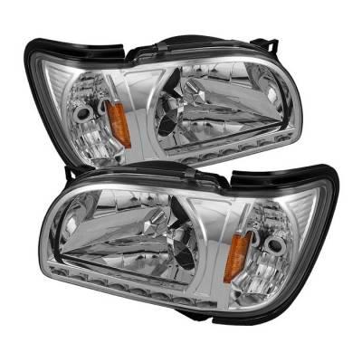 Headlights & Tail Lights - Headlights - Spyder - Toyota Tacoma Spyder Black Trim Corner Crystal Headlights - Chrome - 1PC - HD-ON-TT01-1PC-LED-C