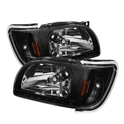 Headlights & Tail Lights - Headlights - Spyder - Toyota Tacoma Spyder Chrome Trim Corner Crystal Headlights - Black - 1PC - HD-ON-TT01-1PC-LED-CC-BK