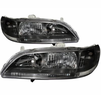 Headlights & Tail Lights - Headlights - Spec-D - Honda Accord Spec-D Crystal Housing Headlights - Black - LH-ACD98JM-RS