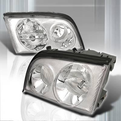 Headlights & Tail Lights - Headlights - Spec-D - Mercedes-Benz S Class Spec-D Crystal Housing Headlights - Chrome - LH-BW14092-KS