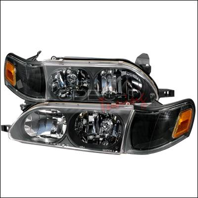 Headlights & Tail Lights - Headlights - Spec-D - Toyota Corolla Spec-D Crystal Housing Headlights - Black - LH-COR93JM-KS