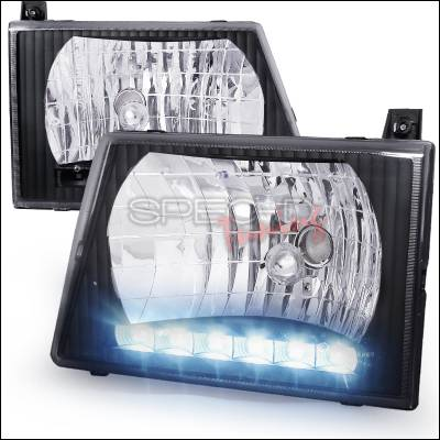Headlights & Tail Lights - Headlights - Spec-D - Ford E-Series Spec-D Euro Headlights - Black Housing with LED - LH-ECON92JM-RS