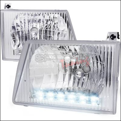 Headlights & Tail Lights - Headlights - Spec-D - Ford E-Series Spec-D Euro Headlights - Chrome Housing with LED - LH-ECON92-RS