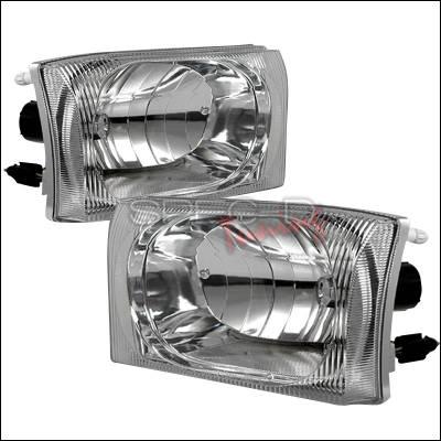 Headlights & Tail Lights - Headlights - Spec-D - Ford F350 Spec-D Crystal Housing Headlights - Chrome - LH-F25099-APC