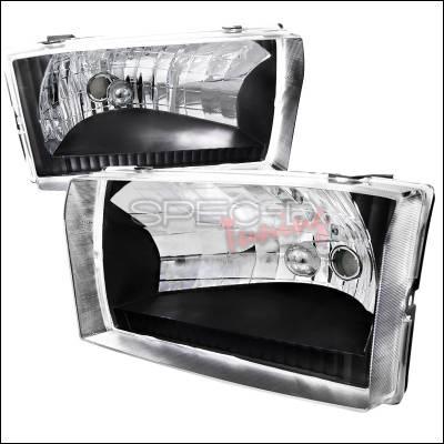 Headlights & Tail Lights - Headlights - Spec-D - Ford F250 Spec-D Black Housing Headlights - LH-F25099JM-ABM