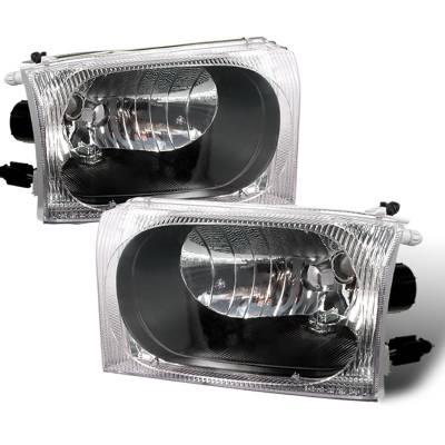 Headlights & Tail Lights - Headlights - Spec-D - Ford F250 Spec-D Crystal Housing Headlights - Black - LH-F25099JM-APC