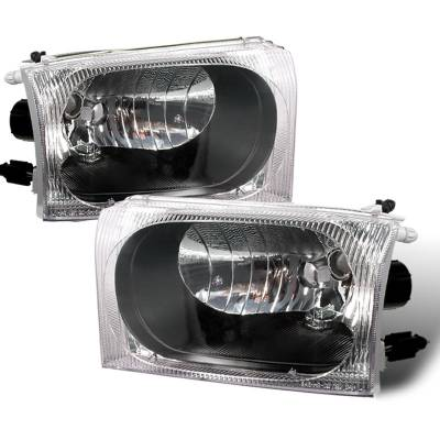 Headlights & Tail Lights - Headlights - Spec-D - Ford F350 Spec-D Crystal Housing Headlights - Black - LH-F25099JM-APC