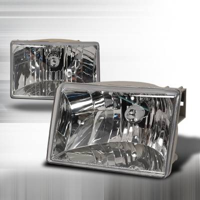 Headlights & Tail Lights - Headlights - Spec-D - Jeep Grand Cherokee Spec-D Crystal Housing Headlights - Chrome - LH-GKEE93-KS