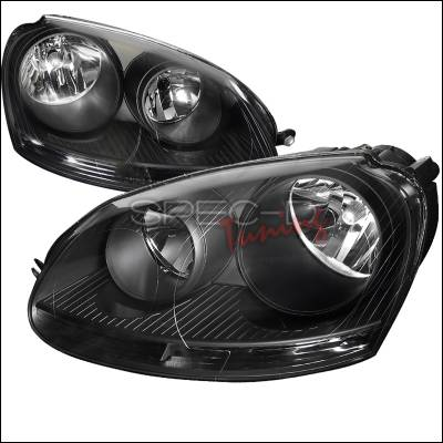 Headlights & Tail Lights - Headlights - Spec-D - Volkswagen Jetta Spec-D Black Housing Euro Headlight - LH-JET05JM-DP
