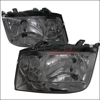 Headlights & Tail Lights - Headlights - Spec-D - Volkswagen Jetta Spec-D Euro Headlights - Smoke Lens - LH-JET99G-RS