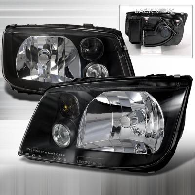 Headlights & Tail Lights - Headlights - Spec-D - Volkswagen Jetta Spec-D Crystal Housing Headlights - Black - LH-JET99JM-DP