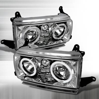 Headlights & Tail Lights - Headlights - Spec-D - Toyota Land Cruiser Spec-D Crystal Housing Headlights - Chrome with Halo - LH-LCR90H-KS