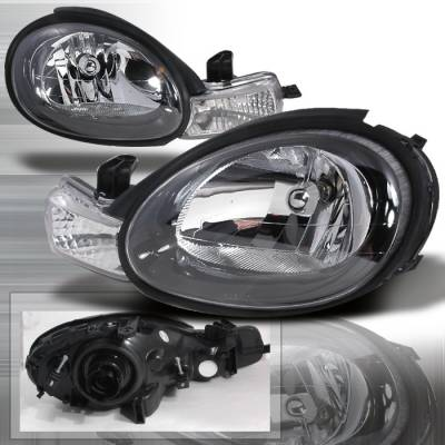 Headlights & Tail Lights - Headlights - Spec-D - Dodge Neon Spec-D Crystal Housing Headlights - Black - LH-NEO00JM-KS