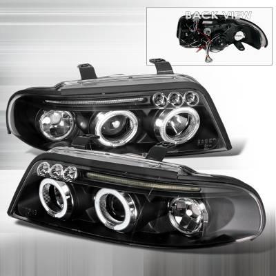 Headlights & Tail Lights - Headlights - Spec-D - Audi A4 Spec-D Halo LED Projector Headlights - Black - LHP-A400JM-TM