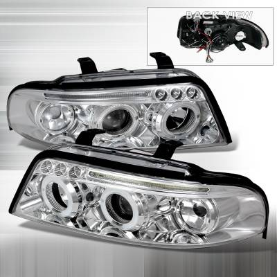 Headlights & Tail Lights - Headlights - Spec-D - Audi A4 Spec-D Halo LED Projector Headlights - Chrome - LHP-A400-TM