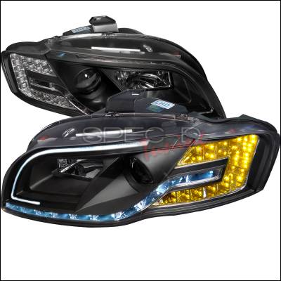 Headlights & Tail Lights - Headlights - Spec-D - Audi A4 Spec-D Black Housing Projector Headlight with Daytime Running Light & Adjustable Motor - LHP-A406JM-8MR-APC