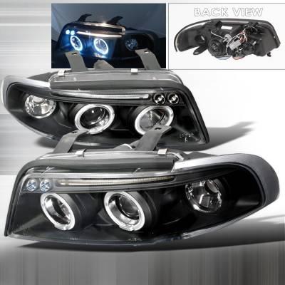 Headlights & Tail Lights - Headlights - Spec-D - Audi A4 Spec-D Halo LED Projector Headlights - Black - LHP-A496JM-TM