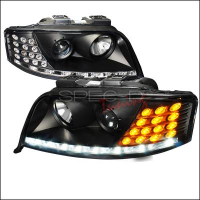 Headlights & Tail Lights - Headlights - Spec-D - Audi A6 Spec-D Projector Headlights - Black Housing - LHP-A602JMHD-MR-APC