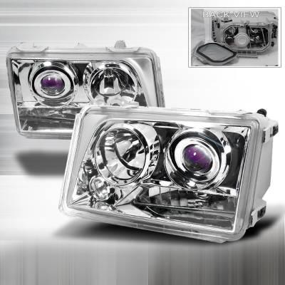 Headlights & Tail Lights - Headlights - Spec-D - Mercedes-Benz E Class Spec-D Halo Projector Headlights - Chrome - LHP-BW12494-KS