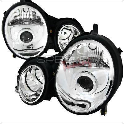 Headlights & Tail Lights - Headlights - Spec-D - Mercedes-Benz E Class Spec-D Projector Headlights - Chrome Housing - LHP-BW21000-APC