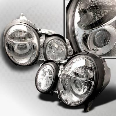 Headlights & Tail Lights - Headlights - Spec-D - Mercedes-Benz E Class Spec-D Halo Projector Headlights - Chrome - LHP-BW21000-KS