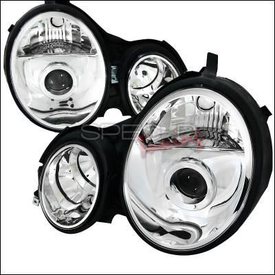 Headlights & Tail Lights - Headlights - Spec-D - Mercedes-Benz E Class Spec-D Projector Headlights - Chrome Housing - LHP-BW21096-APC