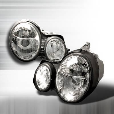 Headlights & Tail Lights - Headlights - Spec-D - Mercedes-Benz E Class Spec-D Halo Projector Headlights - Chrome - LHP-BW21096-KS